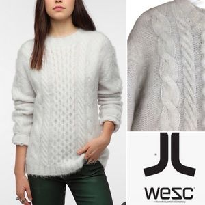 WESC Brushed Cable Knit White Sweater